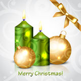 Merry Christmas background with green candles Stock Image