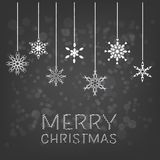 Merry Christmas background with hanging snowflake Stock Photography