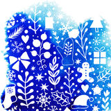 Merry Christmas background. Happy New Year design, watercolor texture, silhouette frosty ornament of classic Christmas elements. White pattern, winter stock illustration