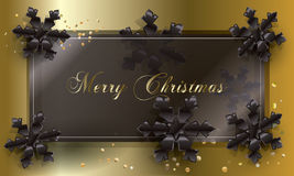 Merry Christmas. Christmas. Merry Christmas and Happy New Year greeting card with black snowflakes and glitter, confetti. Vector illustration. Festive background Stock Image