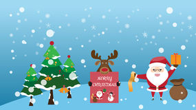 Merry Christmas background that have cute Santa Claus. And reindeer. vector illustration Stock Image
