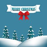 Merry Christmas background with hills stock illustration
