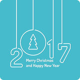 Merry Christmas background. Holiday 2017. Merry Christmas background in linear minimalistic style with ball and tree. Poster holiday 2017 Stock Images