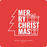 Merry Christmas background. Holiday 2017. Merry Christmas background in linear minimalistic style with ball and tree. Poster holiday 2017 Royalty Free Stock Images