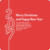 Merry Christmas background. Holiday 2017. Merry Christmas background in linear minimalistic style. Poster holiday 2017 Stock Photo
