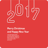 Merry Christmas background. Holiday 2017. Merry Christmas background in linear minimalistic style. Poster holiday 2017 Stock Photography