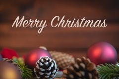 Merry Christmas background with holiday ornaments stock images