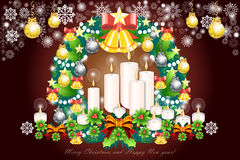 Merry christmas background with holly springs and colorful decorations - vector eps10 Stock Images