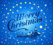 Merry Christmas background. Illustration of blue merry Christmas background with snow, stars and picturesque village church Royalty Free Stock Images