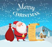 Merry christmas background illustration with funny santa. stock illustration