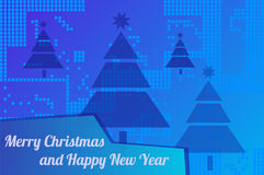 Merry Christmas. Christmas background with inscription Merry Christmas and Happy New Year and Christmas trees Royalty Free Stock Images
