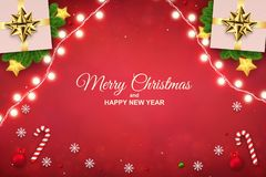 Merry Christmas background with luminous garlands, gift boxes, royalty free illustration