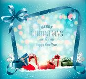 Merry Christmas Background with magic box vector illustration