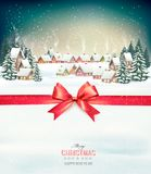 Merry Christmas Background with red gift bow and winter  Royalty Free Stock Photos