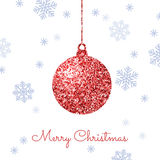 Merry Christmas background with red shiny bauble and blue snowfl Royalty Free Stock Photography