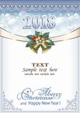 Merry Christmas 2018 background. Christmas background with ribbon and bells in frame with ornament Royalty Free Stock Photography