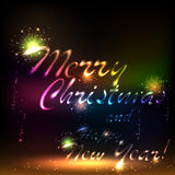 Merry christmas background. Merry Christmas. Salute- vector  on black background Stock Photo