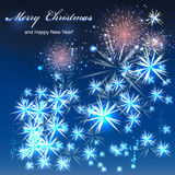 Merry christmas background. Salute- vector  on black background Stock Photo