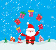 Merry christmas background with santa claus and gift Royalty Free Stock Photography