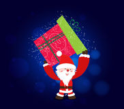 Merry christmas background with santa claus and gift supper bigest Royalty Free Stock Photo