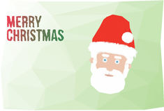 Merry christmas background with santa claus. Low polygonal green background with Merry christmas text and santa claus head Stock Images