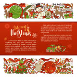 Merry Christmas background. Set of two horizontal Christmas decorations. Christmas tree and balls, Santa with sack, snowman, gingerbread man, Santa socks. There Royalty Free Stock Image