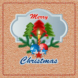 Merry Christmas background with sewing fabric Christmas tree and Candle light Royalty Free Stock Photography