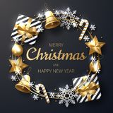 Merry Christmas background with shining gold and white ornaments. stock illustration