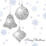 Merry Christmas background with silver hanging baubles Stock Photos