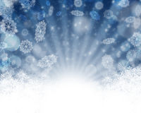 Merry Christmas Background with snow. Winter holiday snow blue background with snow ans stars. Abstract defocused blurred glowing backdrop. Bokeh royalty free illustration