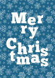 Merry Christmas background with snowflakes. On blue Royalty Free Stock Photography