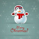 Merry christmas background with snowman. Royalty Free Stock Image