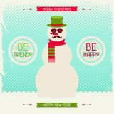 Merry Christmas background with snowman in hipster Stock Image