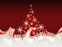 Merry Christmas background with space for text. The words merry Christmas in red ribbon which separates the upper part with abstract Christmas tree on a red Stock Image