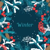Merry Christmas background with stylized winter Stock Photo