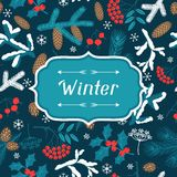 Merry Christmas background with stylized winter Stock Photos