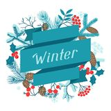 Merry Christmas background with stylized winter Royalty Free Stock Images