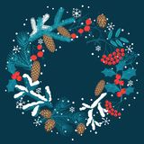 Merry Christmas background with stylized winter Stock Images
