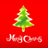020-Merry Christmas background 004. Merry Christmas text with christmas tree and red background vector illustration Royalty Free Illustration