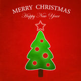 Merry Christmas background. Merry Christmas tree on red background royalty free illustration