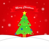 Merry Christmas background with tree and snowflake Stock Images