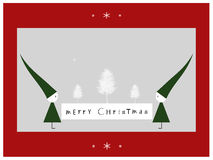 Merry Christmas. Christmas background with two gnomes holding Merry Christmas board Royalty Free Stock Photos