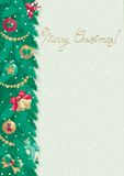 Merry Christmas background. Vector card of christmas fir tree with Christmas decorations on abstract background with snowflakes Stock Image