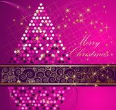 Merry Christmas background. Violet and gold stock illustration