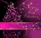 Merry Christmas background. Violet and gold vector illustration