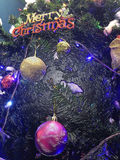Merry christmas background or wallpaper. Merry christmas background with decoration of christmas tree Royalty Free Stock Photography