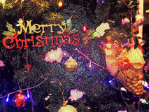 Merry christmas background or wallpaper. Merry christmas background with decoration of christmas tree Royalty Free Stock Photos