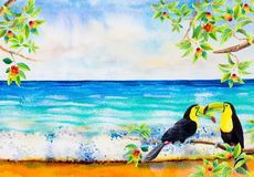 Merry Christmas, Watercolor painting illustration. Merry Christmas background. Watercolor painting of Cherry tree and keel-billed toucan bird couple, in sea view royalty free illustration