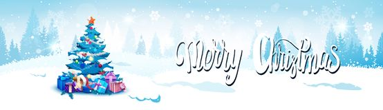 Merry Christmas Background With Winter Forest Landscape And Decorated Blue Fir Tree Horizontal Banner. Flat Vector Illustration Royalty Free Stock Images