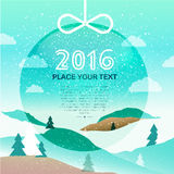Merry Christmas 2016 background. With winter landscape. EPS10 vector illustration